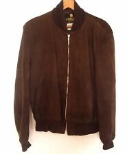 vintage FIDELITY suede leather jacket bomber padded shoulders Made in USA sz 44