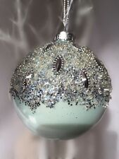 Gisela Graham Blue Crushed Silver Jewell Bauble Christmas Tree Ornament 8cm