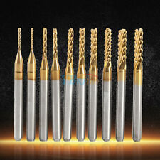 """10x 1/8"""" Titanium Coated CNC PCB Engraving Milling Cutter 1.0-3.0mm End Mill Set"""