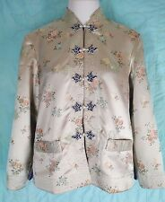 VTG Reversable Gold Blue Asian Brocade Silk Satin Blazer Jacket Size M to L EUC