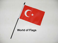 "TURKEY SMALL HAND WAVING FLAG 6"" x 4"" Turkish Craft Table Desk Top Display"