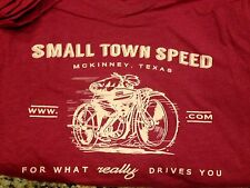 Small Cardinal RED heathered SMALL TOWN SPEED retro style motorcycle Tee. S XS