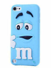 Blue gomma silicone M&M Back Case Cover Skin per iPod Touch 6