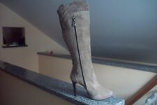 NEW MANAS LEA FOSCATI DOVE GREY SUEDE HIGH-HEELED BOOTS, SIZE 7, MADE IN ITALY