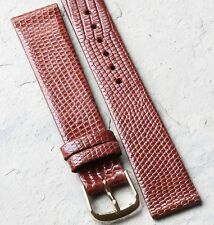 Cognac color Genuine Lizard 18mm vintage watch strap Made in USA NOS 1960s/70s