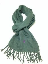 $375 POLO RALPH LAUREN Men's GREEN UNISEX ITALY FRINGED CASHMERE SHAWL SCARF