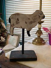 Primitive Folk Art  Wooden Farm Animal (Sheep) on Wooden Stand...Black and White