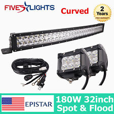 33INCH 180W EPISTAR LED COMBO LIGHT BAR CURVED DRIVING OFFROAD JEEP CAR 18W