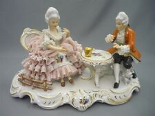 Vintage Hoffner Sandizell Dresden Lace Lady Gentleman Playing Game Figurine 10""