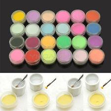 24 Colores Polvos Acrílicos Arte de Uñas Nail Art Tip Decoración Manicura Nuevo