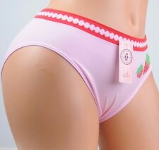 Seamless NYLON Super stretch Strawberry novelty sissy L XL brief panties PINK