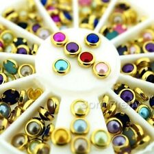 100x 4mm 3D Nagel Sticker Bunt Perlen Strass Charms Nail Art UV Gel Dekoration