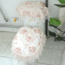 New Toilet Seat Cloth Set Closestool Tank Lid Cover Lace Floral Washable Pad 3PC