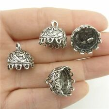 18220*10PCS 14.5mm Leaf Beads Cap End For Tassels Charms Alloy Tibetan Silver