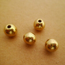 40pcs 8mm Yellow Raw Brass Round Ball Beads Solid for Crafters 2mm Hole