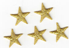 "STARS - GOLD METALLIC 5/8"" STARS (5 Pc)-Iron On Embroidered Applique/Astrology"