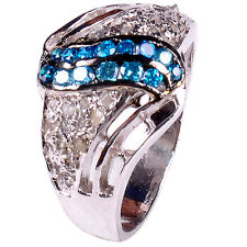 0.84. ct REAL ROUGH NATURAL DIAMOND .925 STERLING SILVER RING SIZE 7