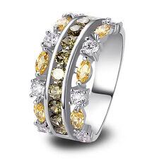 Fashion Beautiful Bridal Jewellery Peridot White Topaz Women Silver Ring Size O