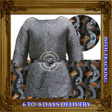 Medieval CHAINMAILLE HAUBERGEON 9mm Flat Riveted+Washer CHAINMAIL SHIRT XL Size