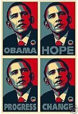 ALL 4 BARACK OBAMA ELECTION POSTERS!  Progress Change Hope Obama