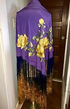 Vintage silk embroidered piano shawl scarf tablecloth flamingo dance long fringe