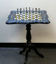 Chess Table On Beautiful Blue Floral Inlay