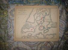 ANTIQUE 1848 BATTLE OF VIMEIRO LISBON PORTUGAL MILITARY MAP NAPOLEON FRANCE NR