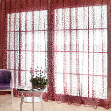 Wine Red Sweet Tulle Voile Door Window Curtains Drape Sheer Home Decor Valances