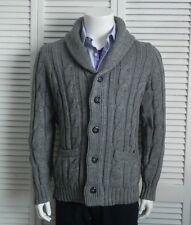 NEW Mens SZ 2XL ALPACA Light Gray Cable Knit Shawl Collar Cardigan Sweater PERU
