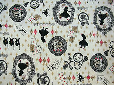 Fat Quarter Alice In Wonderland Beige 100% Japanese Cotton Quilting Fabric