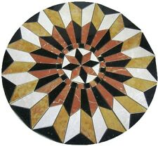 Floor Marble Round Medallion Star Rojo Gold Compass Rose Tile Mosaic 42 in