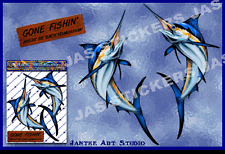 Marlin Swordfish Small Fish Pack Car Stickers Decals for Car Boats- ST00013S