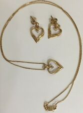 14K Yellow Gold Heart Post Dangle Earrings With Small Diamonds Matching Necklace