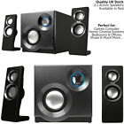 QUALITY 2.1 Compact Surround Sound Gaming Speaker System -PC Laptop TV Sub Amp