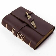 Ancicraft Leather Journal With Vintage Feather A6 Lined Paper Brown Unique Gift