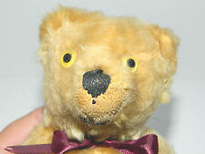 """Early 1900s Antique 10""""American Teddy Bear Mohair Glass Eyes Straw Corduroy Pads"""