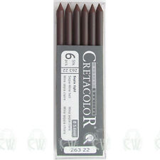 Pack of 6 Cretacolor Artists Sepia Light 5.6mm Clutch Pencil Leads. Drawing