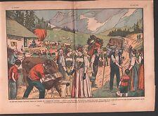 SIMMENTAL DEPART POUR ALPAGE BERGER TROUPEAU VACHE SUISSE  ILLUSTRATION 1932