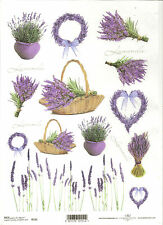 Rice Paper for Decoupage Scrapbooking, Lavender Basket Flowers  A4 ITD R151