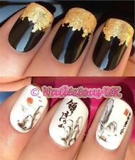 NAIL ART SET #442. MOUNTAIN SUNSET WATER TRANSFER/DECALS/STICKERS & GOLD LEAF