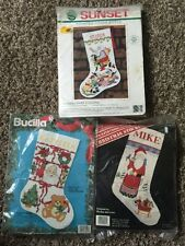 Bucilla & Janlynn Christmas Cross Stitch Kit Lot of 3 - Sampler Stocking + Santa