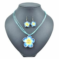 NEW Hawaii Plumeria Blue Flower Fimo Polymer Clay Pierced Earring Necklace Set