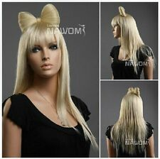 lady gaga Bow Wig Blonde female straight hair Occident cos long wig