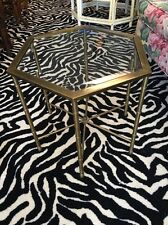 Mastercraft Brass Faux Bamboo Hexagonal End Table With Glass Top Burnished Brass