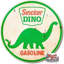 "(SINC-3R) 18"" RUSTY SINCLAIR ROUND GASOLINE decal lubster gas pump oil man cave"