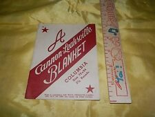 Very Rare Cannon-Leaksville Blanket Paper Hang Tag-Circa 1940's