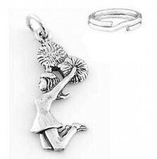 "STERLING SILVER  ""CHEERLEADER"" CHARM W/SPLIT RING"