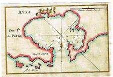 "Roux Map (Chart) -1764- ""AUSA SUR ILE DE PAROS""  Hand-Colored Engraving"