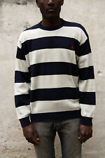 Navigare Jumper Knit Sweat Casuals Top Auth Striped Dark Blue Beige XXL SLIM