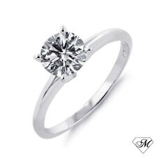 14k White Gold 0.33 CT Round Natural DIAMOND SOLITAIRE Engagement RING NEW